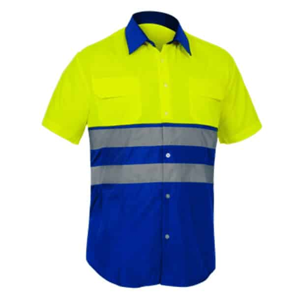 Camisa Alta Visibilidad mangas cortas City amarillo azulina
