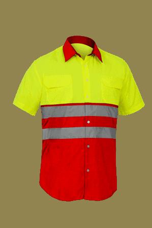 Camisa Alta Visibilidad mangas cortas City amarillo rojo