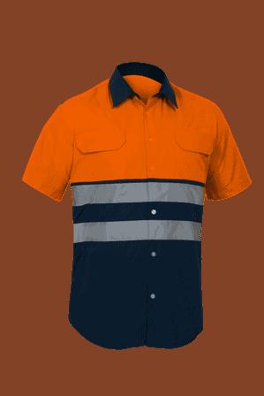 Camisa Alta Visibilidad mangas cortas City naranja marino